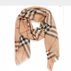 Burberry Giant Check Print Wool and Silk Scarf